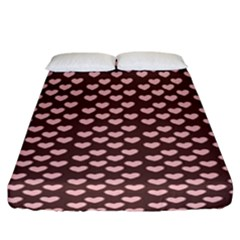 Chocolate Pink Hearts Gift Wrap Fitted Sheet (california King Size) by Mariart