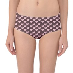 Chocolate Pink Hearts Gift Wrap Mid Waist Bikini Bottoms by Mariart