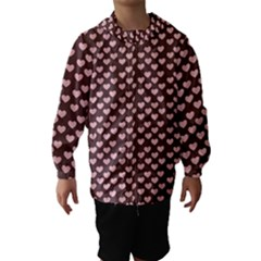 Chocolate Pink Hearts Gift Wrap Hooded Wind Breaker (kids)
