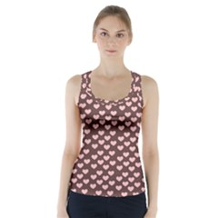 Chocolate Pink Hearts Gift Wrap Racer Back Sports Top by Mariart