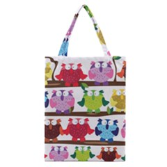 Funny Owls Sitting On A Branch Pattern Postcard Rainbow Classic Tote Bag by Mariart