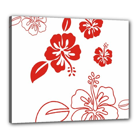 Hawaiian Flower Red Sunflower Canvas 24  X 20  by Mariart
