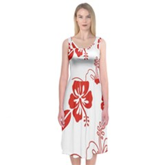 Hawaiian Flower Red Sunflower Midi Sleeveless Dress by Mariart