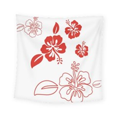 Hawaiian Flower Red Sunflower Square Tapestry (small) by Mariart