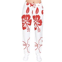 Hawaiian Flower Red Sunflower Drawstring Pants by Mariart