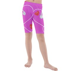 Heart Love Pink Red Kids  Mid Length Swim Shorts by Mariart