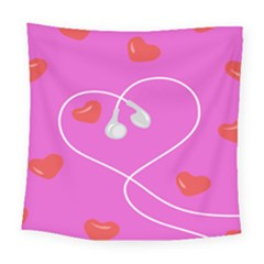Heart Love Pink Red Square Tapestry (large) by Mariart