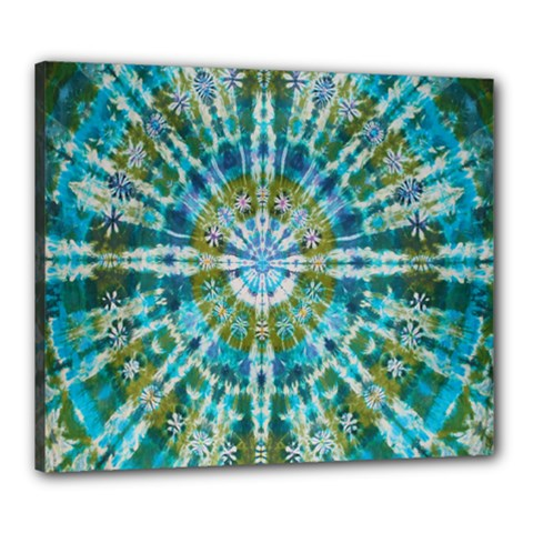 Green Flower Tie Dye Kaleidoscope Opaque Color Canvas 24  X 20  by Mariart
