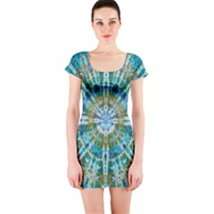 Green Flower Tie Dye Kaleidoscope Opaque Color Short Sleeve Bodycon Dress by Mariart