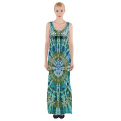 Green Flower Tie Dye Kaleidoscope Opaque Color Maxi Thigh Split Dress
