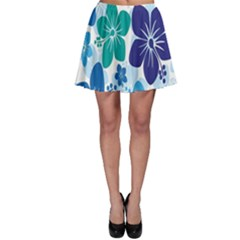 Hibiscus Flowers Green Blue White Hawaiian Skater Skirt by Mariart