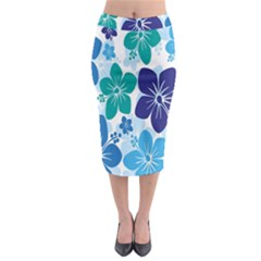 Hibiscus Flowers Green Blue White Hawaiian Midi Pencil Skirt by Mariart