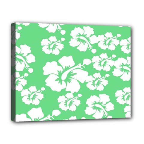 Hibiscus Flowers Green White Hawaiian Canvas 14  X 11  by Mariart