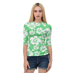 Hibiscus Flowers Green White Hawaiian Quarter Sleeve Tee by Mariart