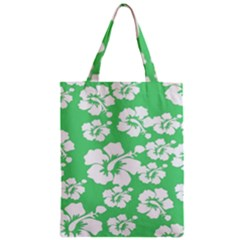 Hibiscus Flowers Green White Hawaiian Zipper Classic Tote Bag by Mariart