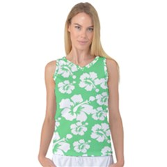Hibiscus Flowers Green White Hawaiian Women s Basketball Tank Top by Mariart