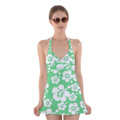 Hibiscus Flowers Green White Hawaiian Halter Swimsuit Dress by Mariart