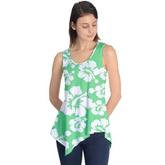 Hibiscus Flowers Green White Hawaiian Sleeveless Tunic