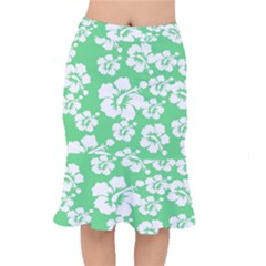 Hibiscus Flowers Green White Hawaiian Mermaid Skirt by Mariart