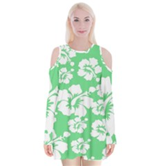 Hibiscus Flowers Green White Hawaiian Velvet Long Sleeve Shoulder Cutout Dress by Mariart