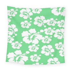 Hibiscus Flowers Green White Hawaiian Square Tapestry (large) by Mariart