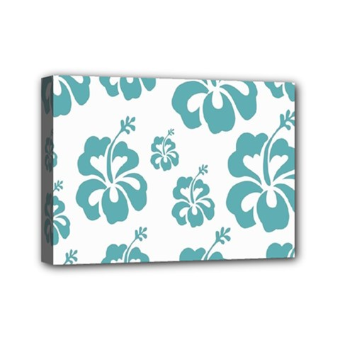 Hibiscus Flowers Green White Hawaiian Blue Mini Canvas 7  X 5  by Mariart