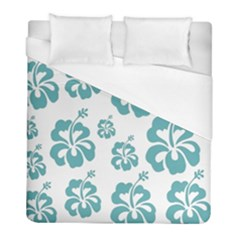 Hibiscus Flowers Green White Hawaiian Blue Duvet Cover (full/ Double Size) by Mariart