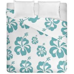 Hibiscus Flowers Green White Hawaiian Blue Duvet Cover Double Side (california King Size) by Mariart
