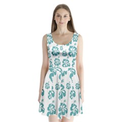 Hibiscus Flowers Green White Hawaiian Blue Split Back Mini Dress  by Mariart