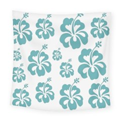 Hibiscus Flowers Green White Hawaiian Blue Square Tapestry (large) by Mariart