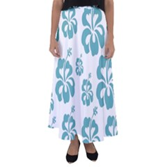 Hibiscus Flowers Green White Hawaiian Blue Flared Maxi Skirt by Mariart