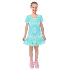 Green Tie Dye Kaleidoscope Opaque Color Kids  Short Sleeve Velvet Dress