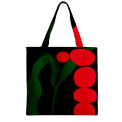 Illustrators Portraits Plants Green Red Polka Dots Grocery Tote Bag by Mariart