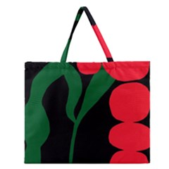 Illustrators Portraits Plants Green Red Polka Dots Zipper Large Tote Bag by Mariart