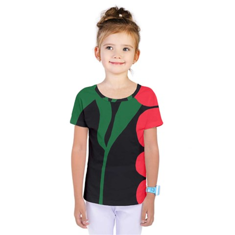 Illustrators Portraits Plants Green Red Polka Dots Kids  One Piece Tee by Mariart