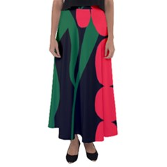 Illustrators Portraits Plants Green Red Polka Dots Flared Maxi Skirt