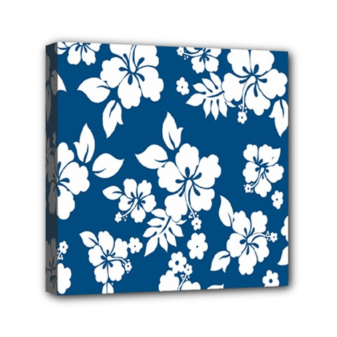Hibiscus Flowers Seamless Blue White Hawaiian Mini Canvas 6  X 6  by Mariart