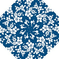Hibiscus Flowers Seamless Blue White Hawaiian Hook Handle Umbrellas (large) by Mariart