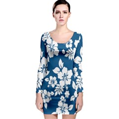 Hibiscus Flowers Seamless Blue White Hawaiian Long Sleeve Bodycon Dress by Mariart
