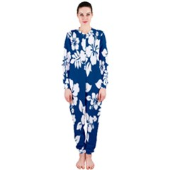 Hibiscus Flowers Seamless Blue White Hawaiian Onepiece Jumpsuit (ladies)