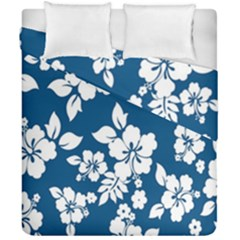 Hibiscus Flowers Seamless Blue White Hawaiian Duvet Cover Double Side (california King Size) by Mariart