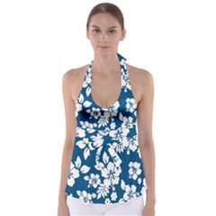 Hibiscus Flowers Seamless Blue White Hawaiian Babydoll Tankini Top by Mariart