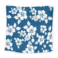 Hibiscus Flowers Seamless Blue White Hawaiian Square Tapestry (large) by Mariart