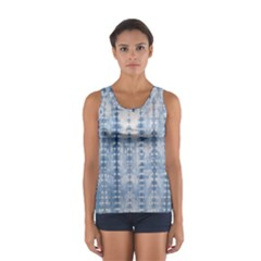 Indigo Grey Tie Dye Kaleidoscope Opaque Color Women s Sport Tank Top  by Mariart