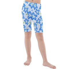 Hibiscus Flowers Seamless Blue Kids  Mid Length Swim Shorts by Mariart