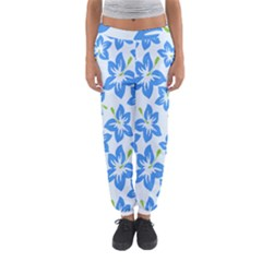 Hibiscus Flowers Seamless Blue Women s Jogger Sweatpants by Mariart