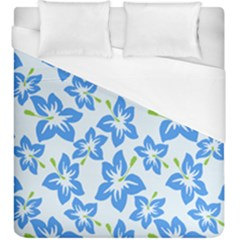 Hibiscus Flowers Seamless Blue Duvet Cover (king Size) by Mariart