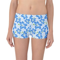 Hibiscus Flowers Seamless Blue Reversible Boyleg Bikini Bottoms by Mariart