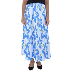 Hibiscus Flowers Seamless Blue Flared Maxi Skirt