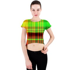 Line Light Neon Red Green Crew Neck Crop Top by Mariart